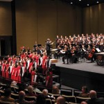 A combination of precollege, collegiate, and alumni singers and musicians performed John Rutter's Mass of the Children on March 16 at the Blair School of Music 50th Anniversary Gala Concert (photo by Anne Rayner)